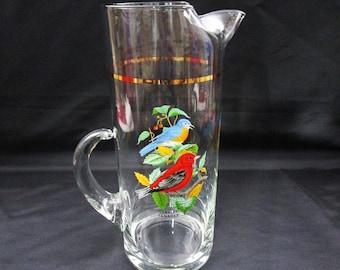 Vintage Songbird Pitcher by West Virginia Glass 74 oz Juice Water Ice Tea Hand Painted Blue Bird & Scarlet Tanager bird watcher gift Barware