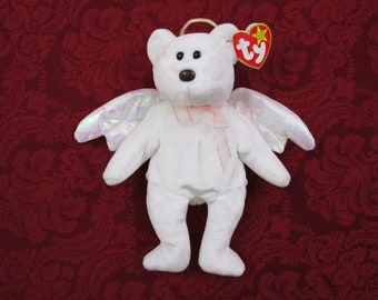 Vintage TY Beanie Bear HALO, 1998 Retired Star Tag with Errors Beanie Babies Guardian Angel Bear Holiday