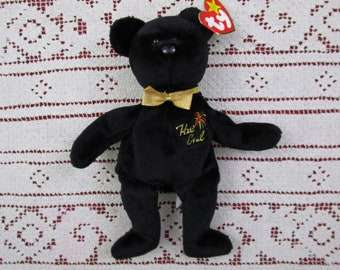 Vintage TY Beanie Bear THE END First Edition 1999 Retired Star Tag with Errors Beanie Babies New Year Black Bear Millennial Holiday