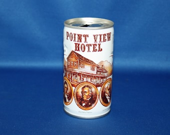 Vintage Point View Hotel Lager Beer Steel Can Pull Tab Pittsburgh Brewing Co Bar Memorabilia Barware Collectible Breweriana Advertisement