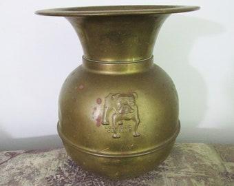 Antique Brass Bull Dog Cut Plug Tobacco Spittoon circa 1910 Saloon Cuspidor Spittoon Bulldog Advertising Piece Advertising Collectible
