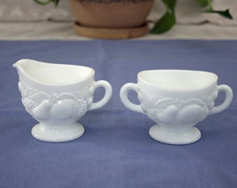 Vintage Creamer and Sugar Bowl Set Westmoreland Milk Glass  Embossed Fruit 1950's 1960's pattern 1058 Collectible Tableware Country Kitchen