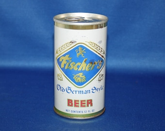 Vintage FISCHER'S Old German Style Beer Steel Can Pull Tab Florida Bottom Stamped Breweriana Collectible Bar Barware Advertisement