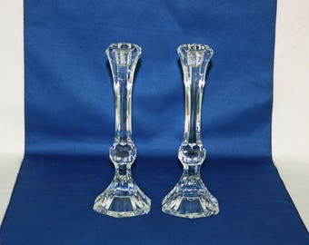 Vintage Pair Lead Crystal Hexagon Shaped 9 inch Candlesticks set of 2 candle holder – Wedding, Holiday, Christmas, Birthday candlestick