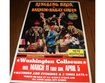 RARE Vintage Circus Poster Ringling Brothers and Barnum & Bailey 14x22 Window Card Advertisement 1970 Collectible Ephemera Memorabilia