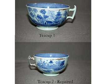 Antique Teacup Blue & Grey Oriental Earthenware Hand Painted Set of two Asian Pagoda Design Tea Cups