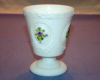 Vintage Fenton Art Glass Medallion Milk Glass Vase circa 1970's signed C. Smith Hand Painted Pedestal Candy Dish Container Collectible
