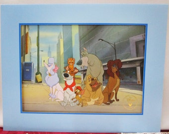 Rare Vintage 1996 Disney Oliver and Company Commemorative Lithograph, Disney Store Exclusive, Made in the USA Collectible