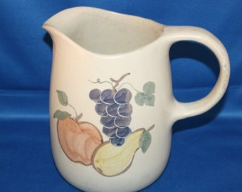 Vintage Farmhouse Pitcher Water Pitcher Earthenware Pottery Hand Painted Stoneware Milk Pitcher Country Kitchen Homestead Fruit Pattern