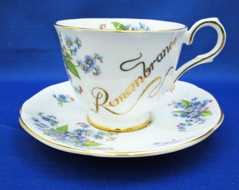 Vintage Tuscan Remembrance Bone China Tea Cup and Saucer with Forget Me Not flowers, Made in England English Tea Party