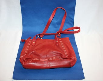 c9ff9e95a4 Vintage STONE MOUNTAIN Red Leather Purse Zipper Closure
