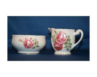 Vintage Windsor Open Sugar Bowl and Creamer Bone China made in England circa 1950's Coffee English Tea