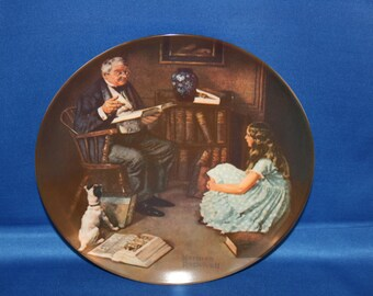 Vintage Edwin M Knowles Norman Rockwell Heritage Collectors Plate - The Storyteller 1984 Cabinet Plate Collector Plate