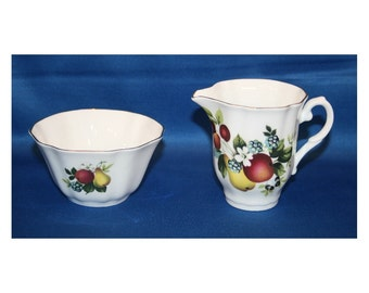 Vintage ROYAL GRAFTON Fruit Pattern Sugar Bowl & Creamer Bone China Open Sugar Bowl and Pitcher Trimmed with 24kt Gold Coffee Tea Party