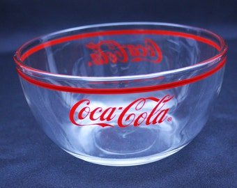 Vintage Coca Cola Clear Glass Snack Bowl by Anchor Hocking Cereal Bowl Serving Bowl Collectible Advertisement Memorabilia Coke