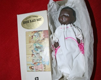 Vintage jointed Baby Doll B. Shackman & Co Black African American Pink Ribbon Handmade Porcelain Bisque Collectible Dolls