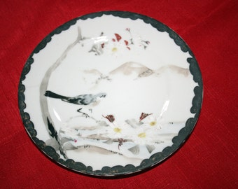 Vintage Oriental Plate Botanical Bird Shallow Bowl Chinese Asian Hand Painted Cabinet Plate Collectible Plates Antique