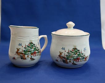 Vintage Woodland Christmas Creamer and Lidded Sugar Bowl by Ming Pao Miyazaki Creates Embossed Porcelain Holiday Tableware
