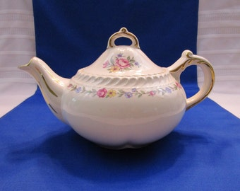Vintage Teapot Harker Pottery Royal Gadroon Bouquet Pattern Tea Pot Made in the USA Tea Party