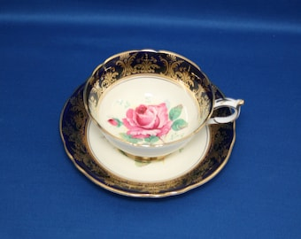Vintage Paragon Teacup and Saucer Cobalt Gold Gilt Rose by Royal Appointment for The Queen & H.M. Queen Mary circa 1940's 97356T  Elizabeth