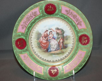 Antique Royal Vienna Cabinet Plate numbered 16 Hand Painted signed Angelica Kauffmann Porcelain Art Charger Dinner Plate Vienna Bindenschild