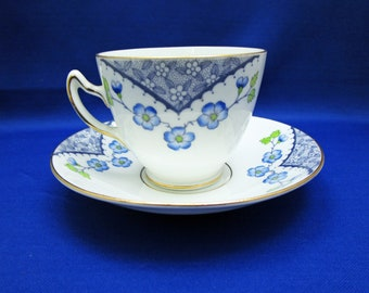 Vintage Tea Cup Rosina Blue Floral Bone China Teacup and Saucer Blue Flowers Made in England 4948 English Tea Party
