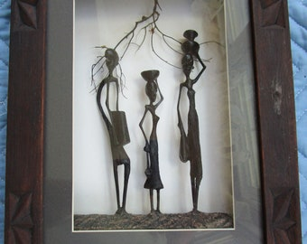 Vintage Makonde Ebony Wood African Tribal Carving Framed Shadow Box 3D Hand Carved Pictorial Folk Art Sculpture Made in Tanzania