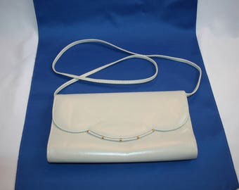 Vintage WARREN REED Cream Evening Bag with Button Snap Clasp, clutch purse, evening handbag wallet