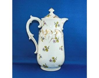 Antique Marx & Gutherz Chocolate Pot Coffee Pot Hand Painted EPIAG Porcelain Austria circa 1884 to 1898 Maximilian Marx Oscar Gutherz