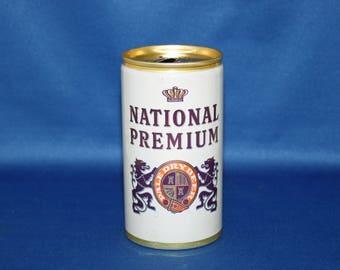 Vintage NATIONAL PREMIUM Pale Dry Beer Can Pull Tab Aluminum Opened Empty Bar Memorabilia Barware Collectible Breweriana Advertisement