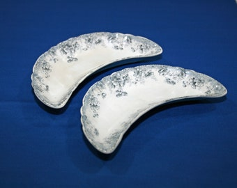 Antique Pair of Bone Dishes Edge, Maklin and Co Summertime Made in England circa 1900 EM & Co Crescent Plate Trinket Candy Soap Dish Vintage