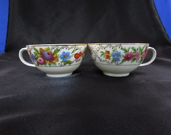 Antique Crown HC Imperial Teacup Pair of 2 Floral China Tea Cups Made in Czechoslovakia set of 2 circa 1920 Tea Cup Czecho-slovakia Vintage