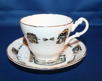 Vintage Regency Teacup and Saucer Alaska Souvenir Made in England Alaskan tea cup English Tea