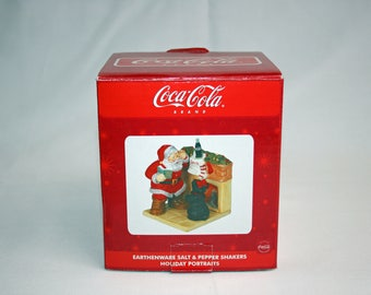 Coca Cola HAND PAINTED Santa and Dog at the Fireplace Salt & Pepper Shakers from Holiday Portrait by Sakura Christmas Holiday MIB