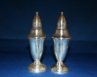 Vintage Sterling Silver Salt and Pepper Shaker Columbia Glass Lined Weighted 925 Silver Salt & Pepper Shakers