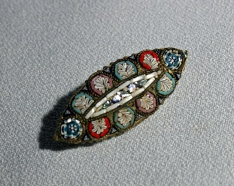 Antique Italian Micro Mosaic Brooch Jewelry Pin Made in Italy circa Late 1800's early 1900's Victorian micromosaic Brooch micro-mosaic