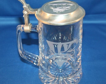 Vintage Glass Beer Stein Etched Winston & Pewter Embossed Lid Glass  Beer Mug Barware Collectible Bar Memorabilia Breweriana