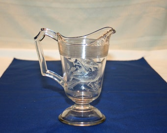 Antique EAPG Ohio Flint Glass Co Cardinal Pedestal Creamer Pitcher Embossed Bird circa 1870's Milk Syrup Cream Miniature Pitcher Collectible