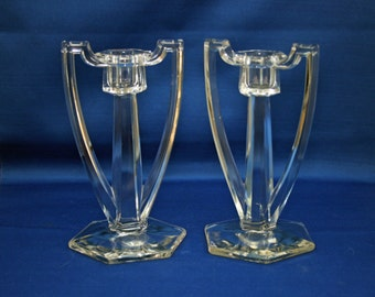 Antique Chippendale EAPG Colonial Candlesticks set of 2 Candle Holders circa early 1900's Candlestick Candle Holder