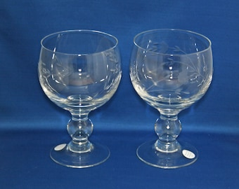 Vintage Princess House Grande Water Glass set of 2 Heritage 24 oz. item # 6213 / 6275 Hand Cut Crystal Glass Wine Goblet