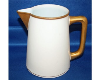 Antique NORITAKE NIPPON Pitcher with Gold Handle and Trim circa 1910 Ivory Japanese Milk Pitcher Porcelain China Water Pitcher Japan Vintage