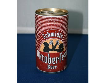 Vintage Schmidt's OKTOBERFEST Steel Beer Can Pull Tab Unopened Empty Bar Collectible Barware Memorabilia Breweriana Advertisement