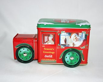Vintage Coca-Cola Collector's Tin Red & Green Santa Clause Delivery Truck - Coke Collectible Tin Delivery Truck - Memorabilia Ephemera 1998