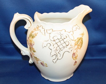 Antique Pitcher Warrick China Co. 6 cup Floral Water Milk Pitcher Made in the USA Victorian Pitcher