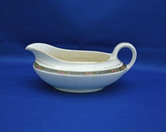 RARE Antique Boston Pottery Co Gravy Boat  circa 1890's  sauciere Gravy Dish Akron Stoneware Sauce Boat Serving Dish Tableware