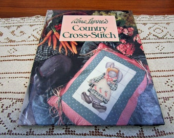 Vintage Alma Lynne's Country Cross Stitch Patterns Hardcover Book Banar Designs 1990 Craft Projects Needlework Pattern How to Crafts