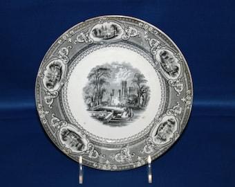 Antique Wedgwood & Co Plate Corinthia Pattern Earthenware Luncheon Plate Black Transferware circa 1860's Enoch Wedgwood Unicorn Pottery