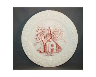 Vintage Homer Laughlin First Congregational Church Essex Massachusetts Collectors Plate Circa 1952 Souvenir Charger