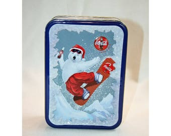 Vintage Coca-Cola Christmas Snow Boarding Santa Polar Bear Tin Collector's Tin - Coca Cola Collectible Coke Memorabilia Ephemera Storage Box