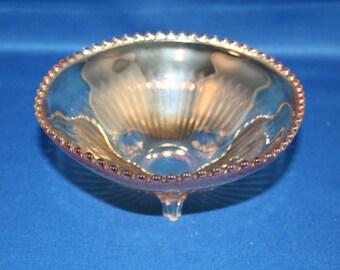 Vintage Carnival Glass Bowl Ribbed Footed Depression Era Golden Iridescent Fruit Bowl Candy Dish Trinket Bowl Art Glass